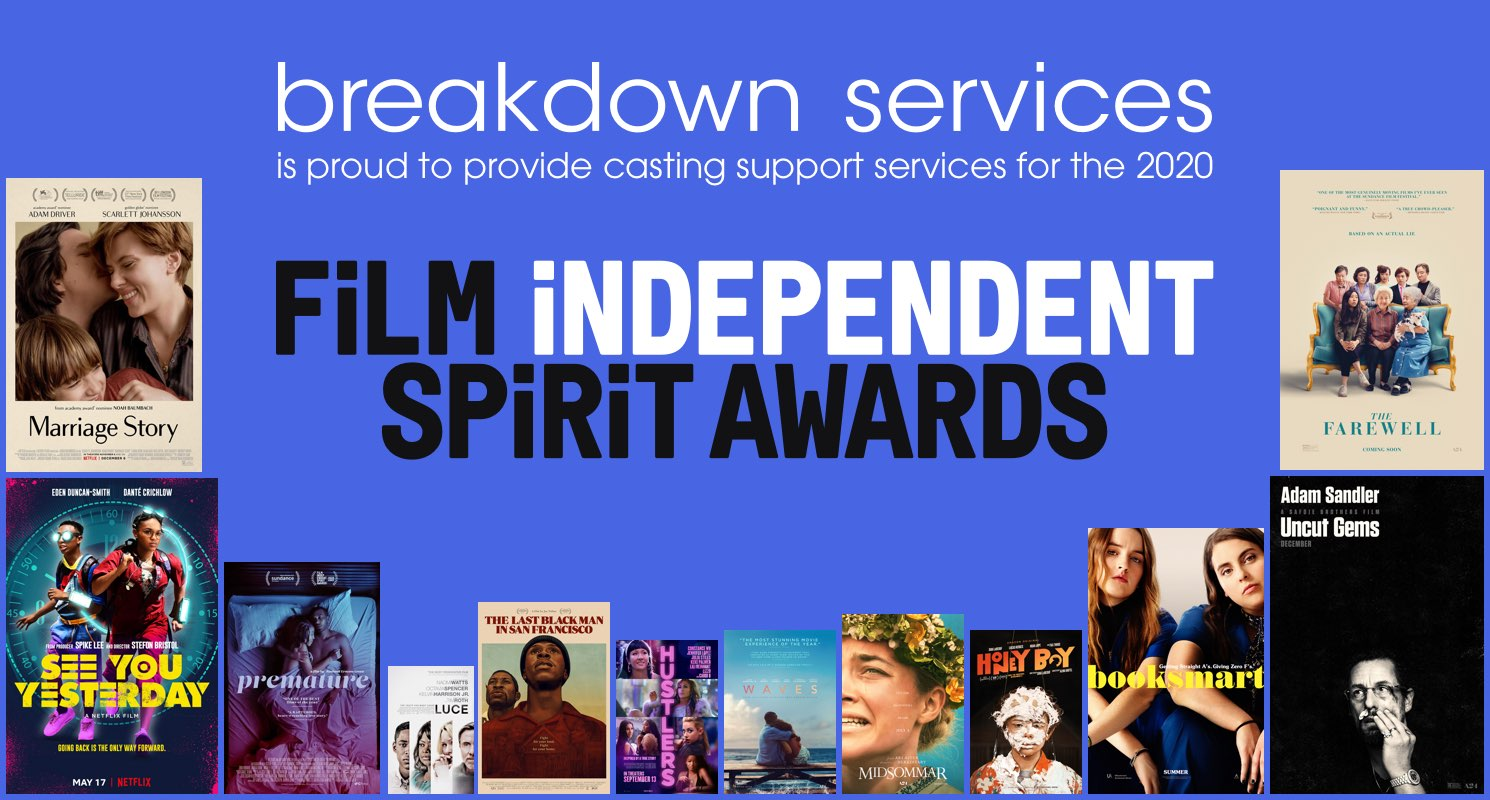 Breakdown Services is proud to provide casting support services for this year's Film Independent Spirit Awards.