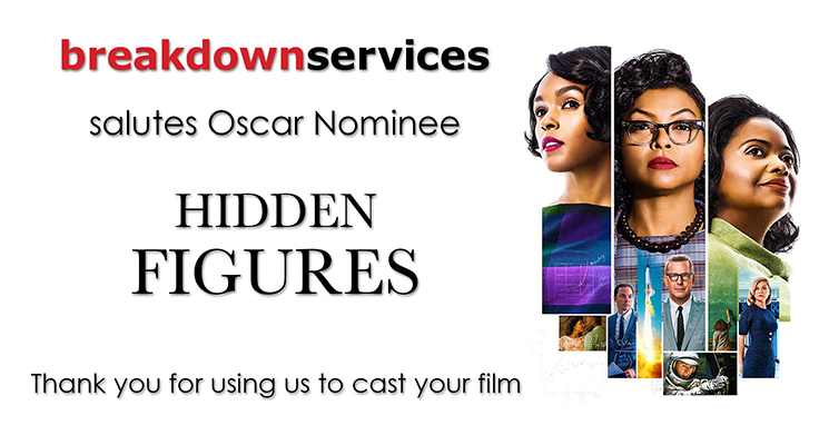 Breakdown Services salutes this year's Oscar Nominess. Thank you for letting us help cast your productions.